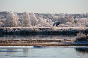 Frosttäckt Tornedalen Torneälv